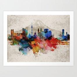Tokyo Abstract Skyline Art Print
