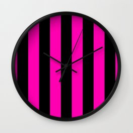 Bright Hot Neon Pink and Black Circus Tent Stripes Wall Clock