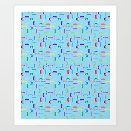 Colorful Mustaches Swimming In The Ocean Pattern Moustache Art Print