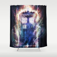 tardis Shower Curtains featuring Tardis by jasric