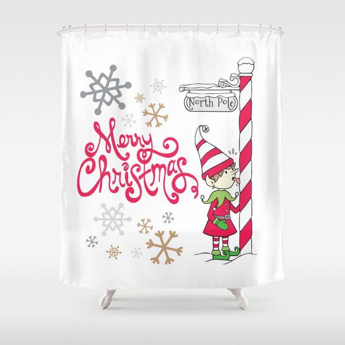 Merry Christmas Elf Shower Curtain