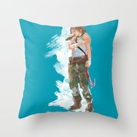 tomb raider Throw Pillows featuring Tomb Raider by Robbie Drew Dixon