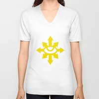 warhammer V-neck T-shirts featuring Warhammer 40k Black Legion Minimalist Poster by Milos Cakovan