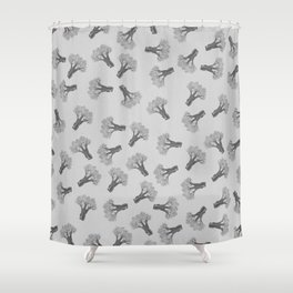 Broccoli Black and White Shower Curtain