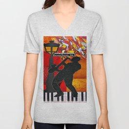 Bourbon St. Jazz Saxophone Player Unisex V-Neck