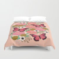 vegetarian Duvet Covers featuring Monarch Florals by Andrea Lauren  by Andrea Lauren Design