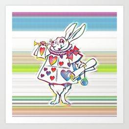 Rabbit Playing Bugle Multi-Color Art Print