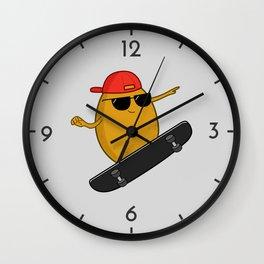 Skater Potato Wall Clock