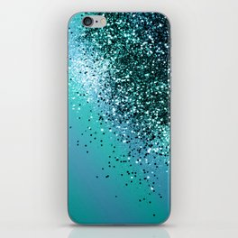 Aqua Blue OCEAN Glitter #1 #shiny #decor #art #society6 iPhone Skin