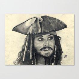 Captain Jack Sparrow ~ Johnny Depp Traditional Portrait Print Canvas Print