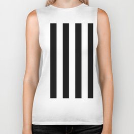 Black & White Vertical Stripes - Mix & Match with Simplicity of Life Biker Tank