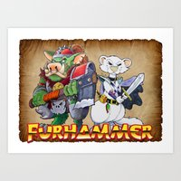 """warhammer Art Prints featuring Furhammer """"P'Orc and Dark Ferret"""" by the Artisan Rogue"""