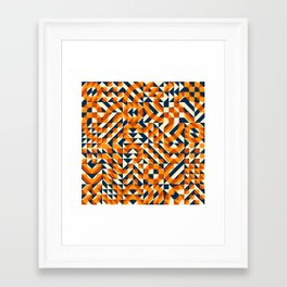 Orange Navy Color Overlay Irregular Geometric Blocks Square Quilt Pattern Framed Art Print