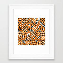 Orange Navy Color Overlay Irregular Geometric Blocks Square Quilt Pattern Framed Art Print