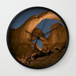 Double Arch And The Milky Way - Arches National Park - Moab, Utah. Wall Clock