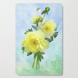 Yellow Peony Bouquet on Painted Sky Cutting Board