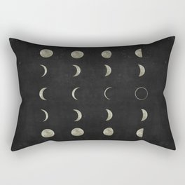 Moon Phases on Black Sky Rectangular Pillow