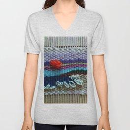 mini tapestry, weaving, Taito beach, Chiba, Japan, surf, surfing, surfing art, surf art, Unisex V-Neck