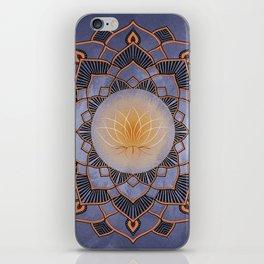 Orange Lotus Flower Mandala On A Textured Blue Background iPhone Skin