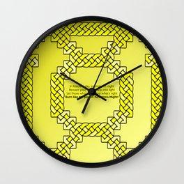 Yellow Lantern Symbol & Oath Wall Clock