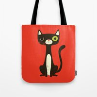 black cat Tote Bags featuring Black Cat by Monster Riot
