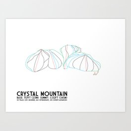 Crystal Mountain, MI - Minimalist Winter Trail Art Art Print