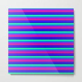StRipES Pink Teal Blue Metal Print