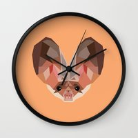 bat Wall Clocks featuring Bat by Alysha Dawn