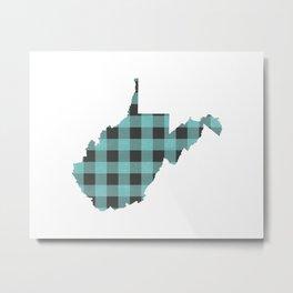 West Virginia Plaid in Mint Metal Print