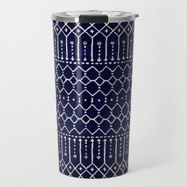 Indigo Dark Blue Farmhouse Moroccan Style. Travel Mug