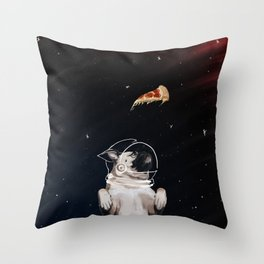 Pug and Pizza Space Throw Pillow