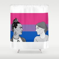 bisexual Shower Curtains featuring Bisexual Pride by Grace Teaney Art