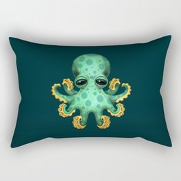 Cute Green Baby Octopus Rectangular Pillow