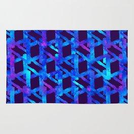 Cosmic blue watercolor bright print. Rug