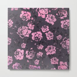 Blush Pink and Black Floral Print Rustic Roses Metal Print