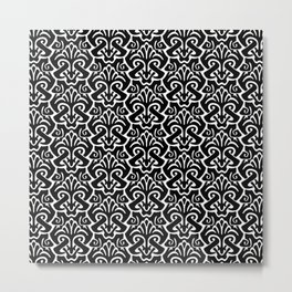 Art Nouveau Pattern Black And White Metal Print