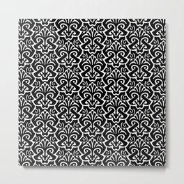 Art Nouveau Pattern Black And White Metal Print