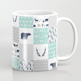 Camper antlers bears pattern minimal nursery basic navy mint white camping cabin chalet decor Coffee Mug