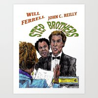 will ferrell Art Prints featuring Step Brothers by AdrockHoward