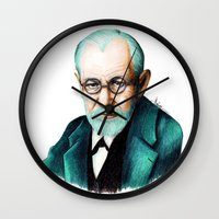 freud Wall Clocks featuring SIGMUND FREUD by Coco Dávez