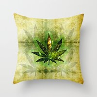 marijuana Throw Pillows featuring Marijuana Leaf - Design 3 by Spooky Dooky