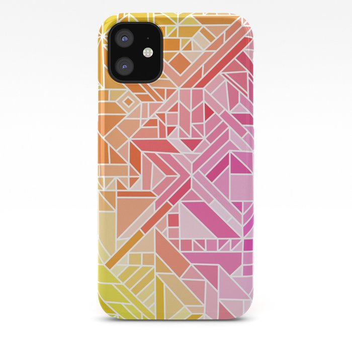 Bright Gradient Hot Pink Orange Green Yellow Blue Geometric Pattern Print Iphone Case By Aej Design
