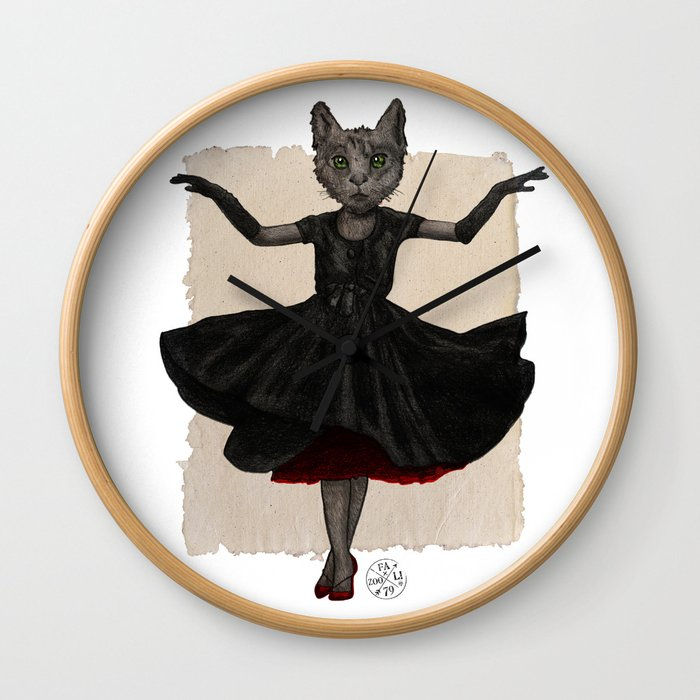 Twirling, Twirling, Couture Kitty Wall Clock