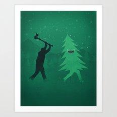 Funny Cartoon Christmas tree is chased by Lumberjack / Run Forrest, Run! Art Print