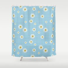 Daisies On Blue Gingham Shower Curtain