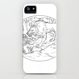 Fenrir Attacking Norse God Odin Drawing Black and White iPhone Case