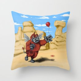 Winged Boar Demon Throw Pillow
