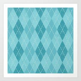 Textured Argyle in Blues Art Print