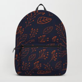 Rust leaves and branches on dark blue Backpack