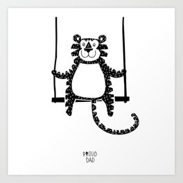 Tiger on the swing Art Print